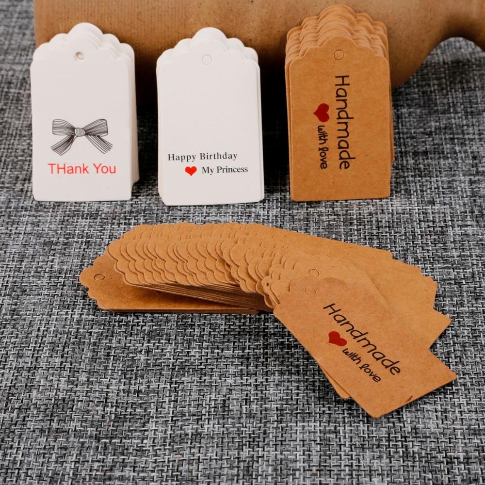 100 шт./лот, сделай сам, крафт-бумажные бирки, прямоугольные, рождественские, свадебные, вечерние, подарочные карты, бирки для багажа