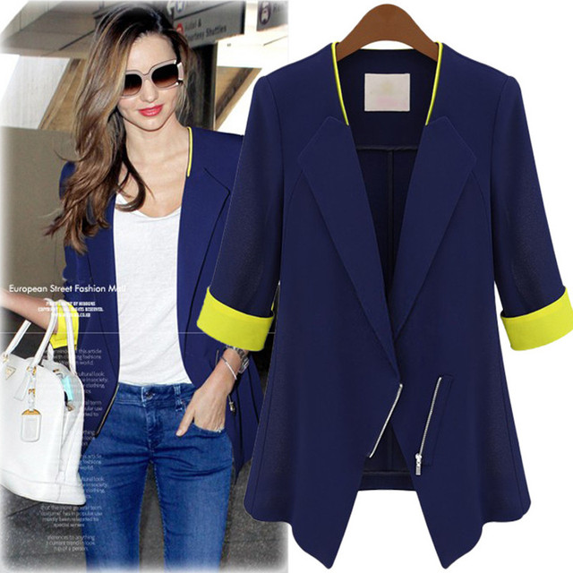 f8a13caeac9 New Spring Autumn Women Blazers Vestidos Plus Size Cardiga Slim Contrast  Color Half Sleeve blazer For Women Large Blue Outerwear