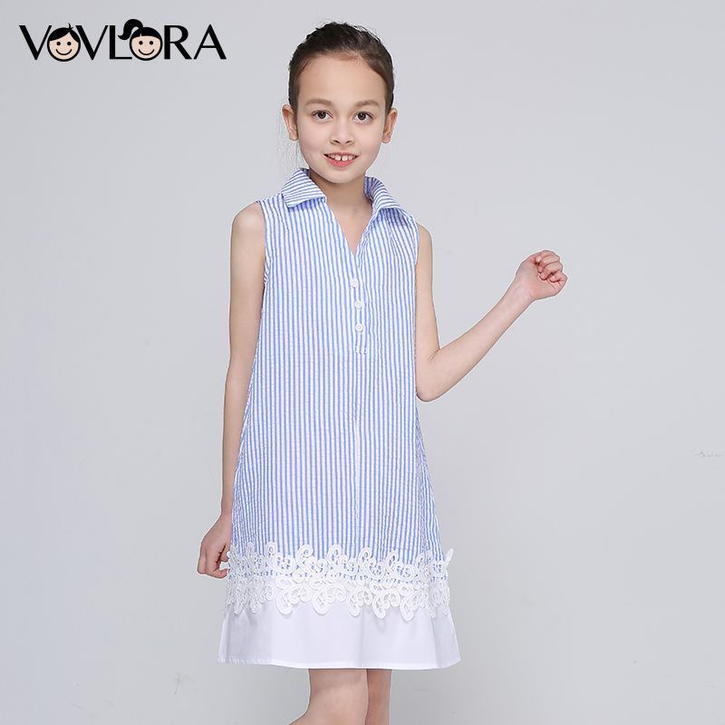 Striped Patchwork Lace Sleeveless Girls Dresses A Line Loose V Neck Kids Dress Fashion Summer 2018 Size 9 10 11 12 13 14 Years