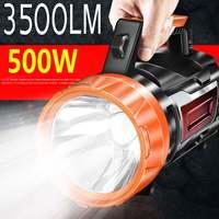 Linterna LED recargable de 3000M, foco reflector de 3500lm, para acampar, con USB, impermeable, para caza y senderismo