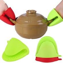 Силиконовый кухонный органайзер, изолированные зажимы для теплового горшка, перчатки для микроволновой печи, зажим для горячей пластины, 1 шт., анти-ожогов, утолщаются