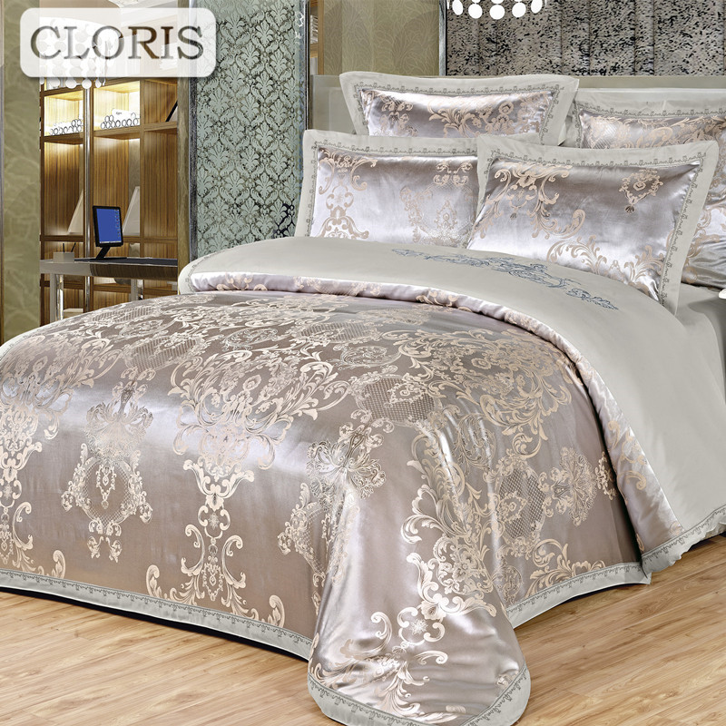 CLORIS Brand Bedding Kit Moscow Supply Bedclothes Good Cotton Family Bed Sheet Jacquard Bedspread Fashion Plaid