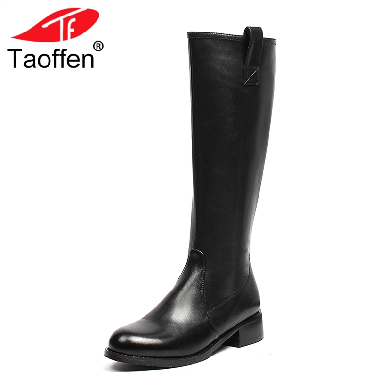 TAOFFEN New Flats Boots Women Winter Shoes Genuine Leather Knee High Boots Fashion Simple Warm Office Ladies Boots Size 34-42 title=