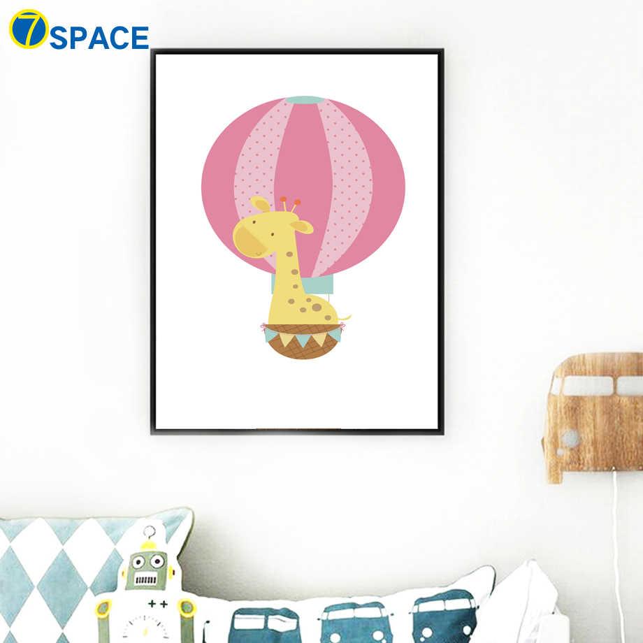 Воздушный шар Жираф Обезьяна слон лев настенная живопись садик холст живопись плакаты на скандинавскую тему и принты настенные картины Детская комната Декор