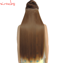 5piece/Lot Xi.rocks Synthetic Clip in Hair Extension 28inch Length Straight 5 Hair Clips Hairpiece Matte Fiber Chocolate Color27