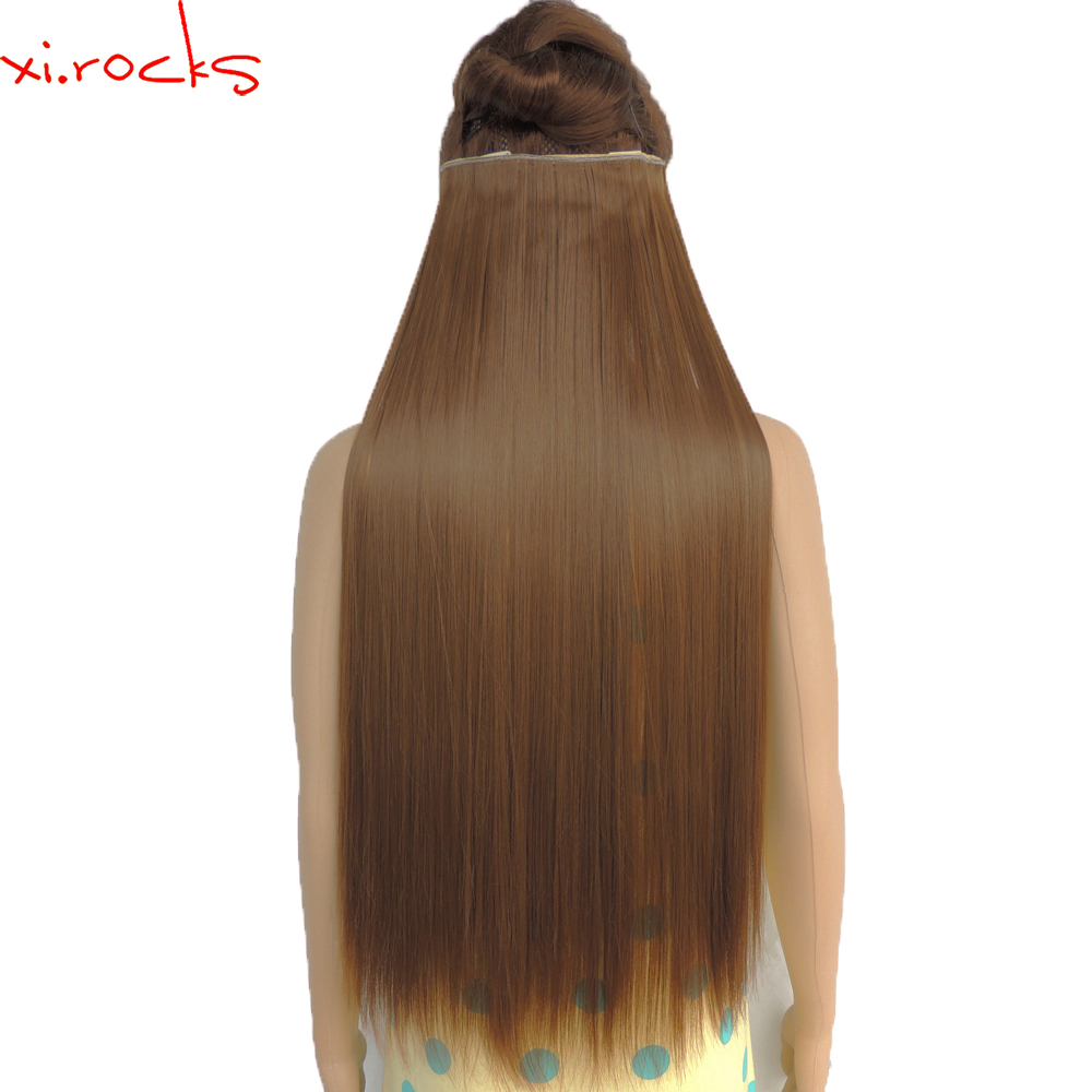 wjz12070 27 5piece Xi rocks wig Synthetic Clip in Hair Extension Length Straight Clips Hairpiece Matte Fiber Chocolate Color wig in Synthetic Clip in One Piece from Hair Extensions Wigs