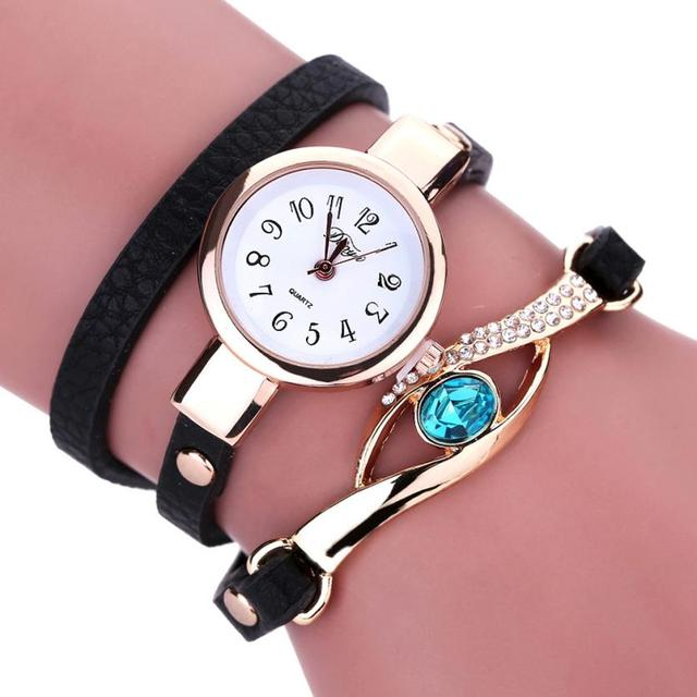 Fashion Luxury Diamond Wrap Around Leather Bracelet Watch Women Ladies Quartz Wa
