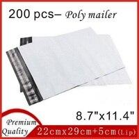 200 Pz 22 cm x 29 cm Bianco Poly Mailer Busta Postale Autosigillante di Plastica Mailing Imballaggio Sacchetti Sobres 8.7