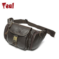 2017 New Fashion Retro Genuine Leather Men S Multifunction Travel Bags Men Waist Pack Hiqh Quality