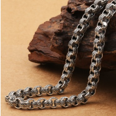925 sterling silver 8mm Wide Wrinkle chain accessories for men statement necklace long necklaces925 sterling silver 8mm Wide Wrinkle chain accessories for men statement necklace long necklaces