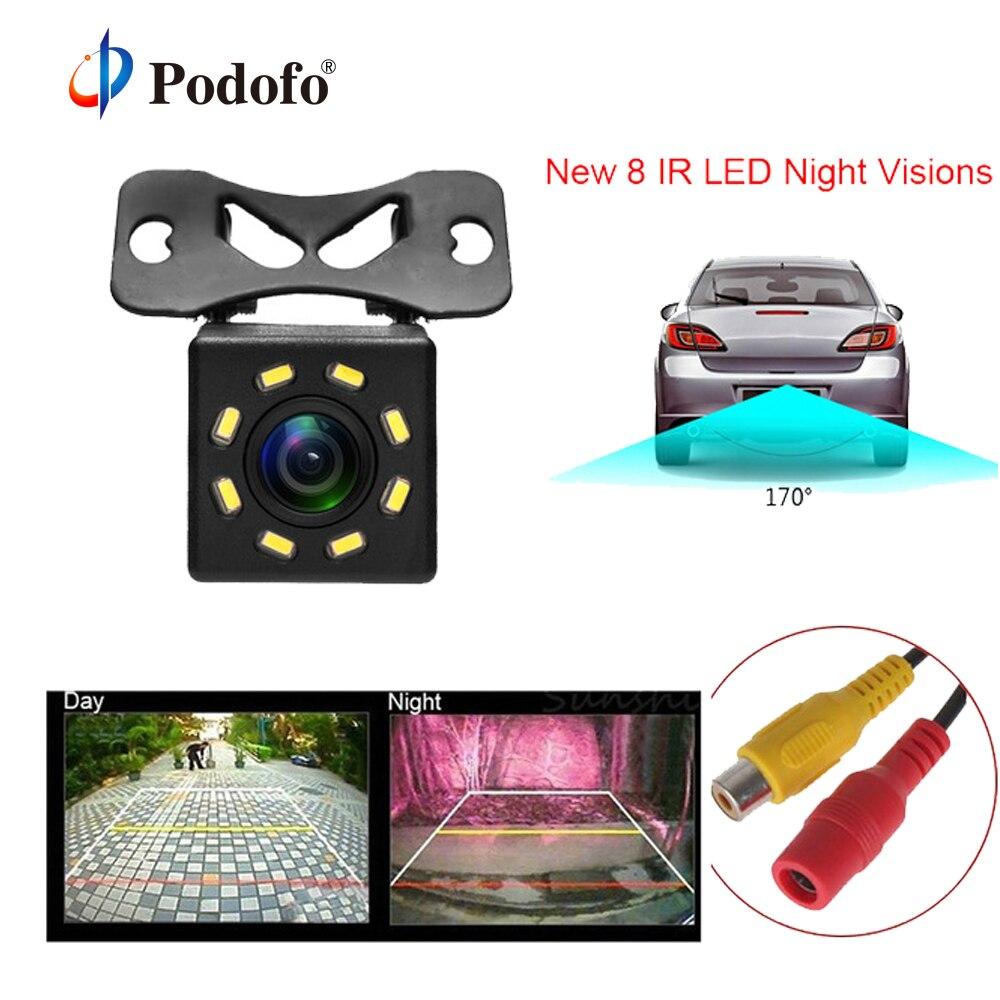 Podofo cámara de visión trasera del coche 8 LED visión nocturna gran angular HD Color imagen impermeable Universal de respaldo aparcamiento Cámara inversa Coche