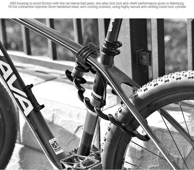 Anti Theft Lock Bicycle Cycling Bike Folding Chain Hamburg Security Shape L W6I1
