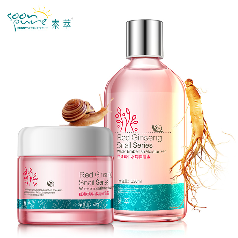 Soon Pure Red Ginseng+ Snail cream+lotion Facial T...