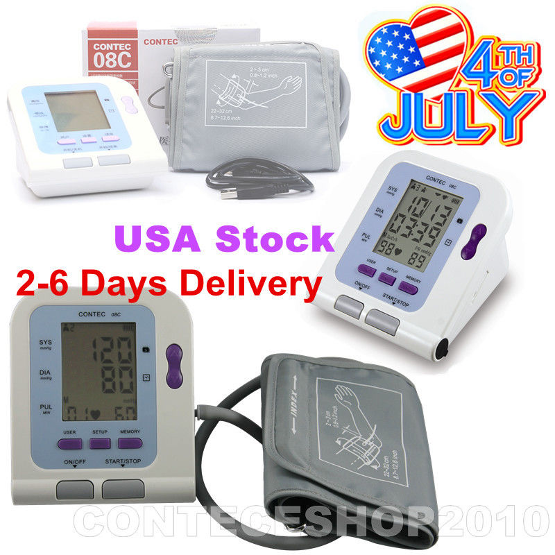 FDA CE Digital Upper Arm blood pressure Monitor+Adult BP cuff+PC Software CONTEC08C high quality ce fda blood glucose meters monitor blood sugar diabetics test glycuresis monitor 50 strips 50 needles