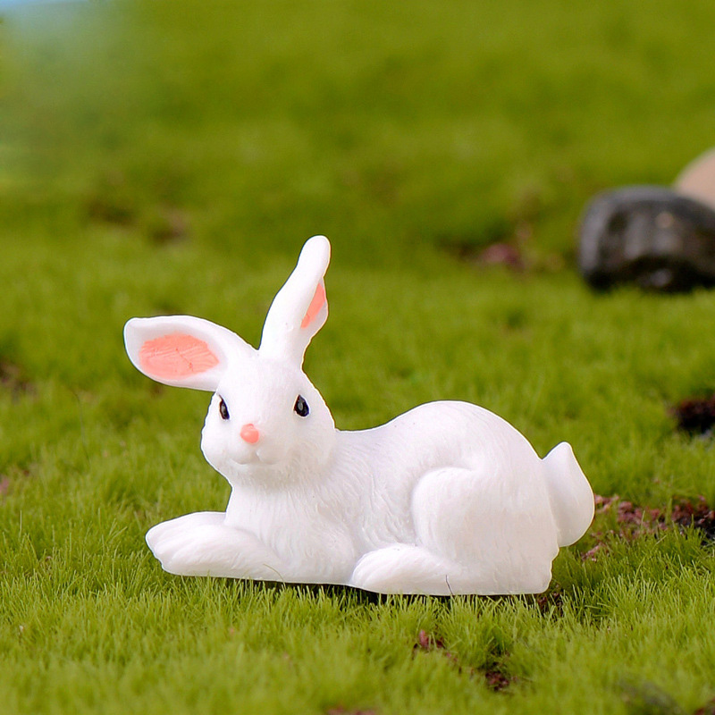 Easter Love White Rabbit Figures Funny Animal Model Miniature Figurines Fairy home Garden Wedding Doll Decoration Girl toy gift 4