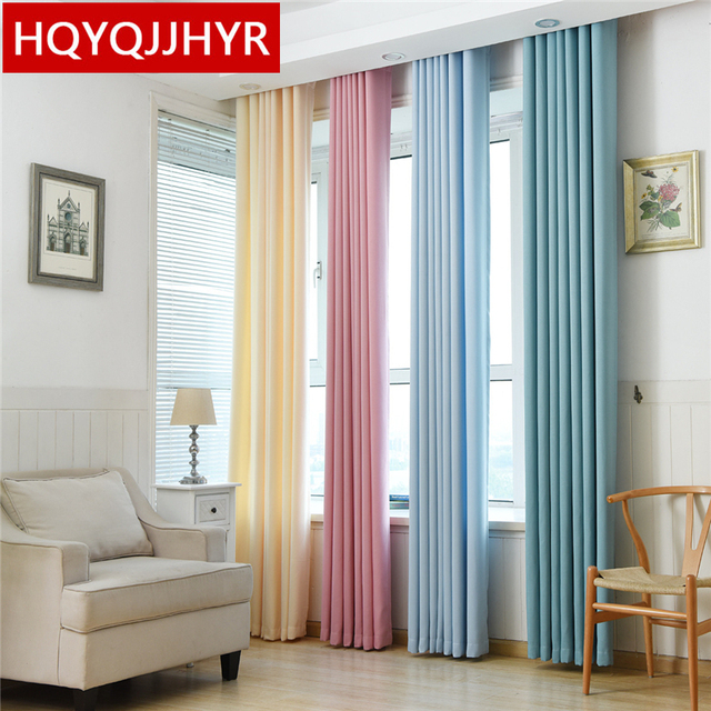 Modern Plain Solid Color Blackout Curtains For Living Room Sheer Kitchen Window Curtain Bedroom