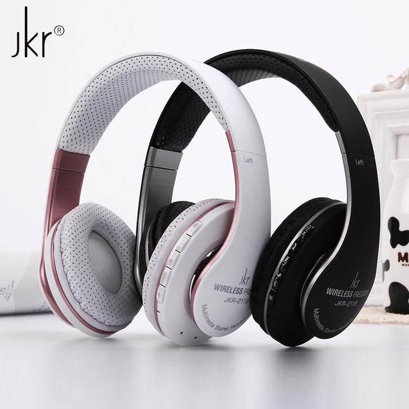 JKR-211B Foldable Stereo Bass Sports Wireless Bluetooth Headset Headphone with Mic FM Radio TF Card Slot for Samsung iPhone Sony rock y10 stereo headphone earphone microphone stereo bass wired headset for music computer game with mic