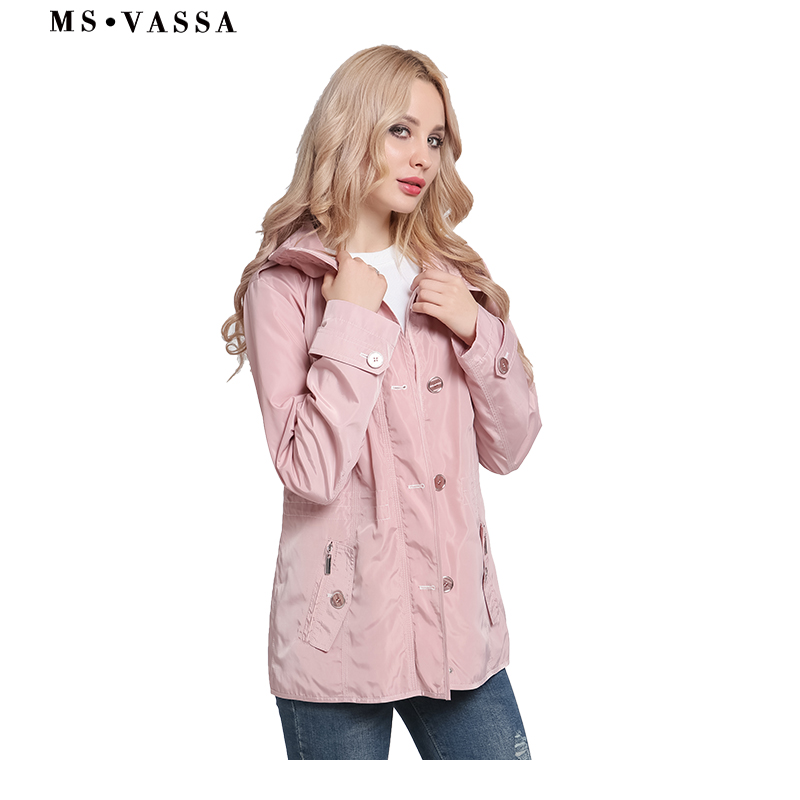 MS VASSA Spring   Trench   Autumn Women 2019 New basic Coats turn-down collar woven fashion ladies   trench   coat plus size outerwear