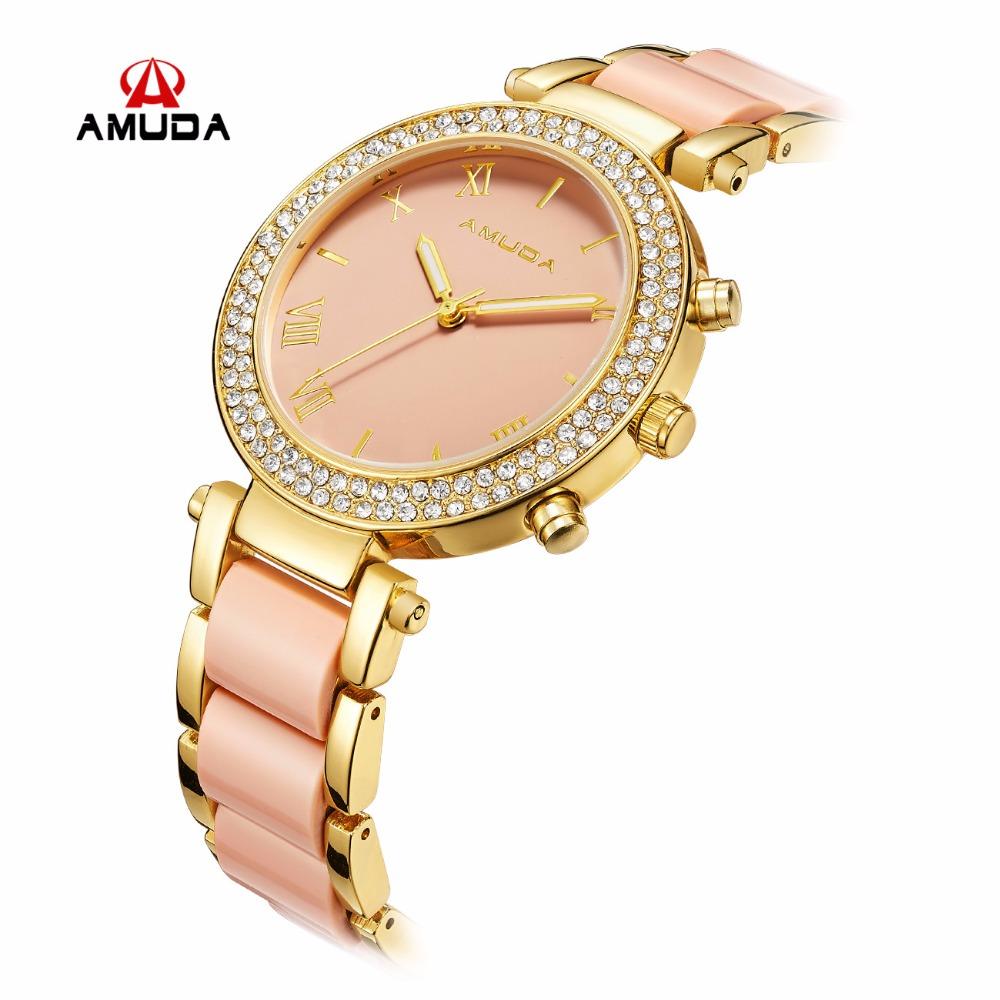 Prix pour Amuda De Luxe De Mode de Femmes Montres À Quartz Montre Bracelet Montres En Acier Inoxydable Bracelet Femmes Montres Avec Boîte-Cadeau