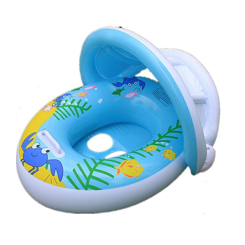 HOT Inflatable Adjustable Sunshade Baby Swim Float Seat For Pool ...