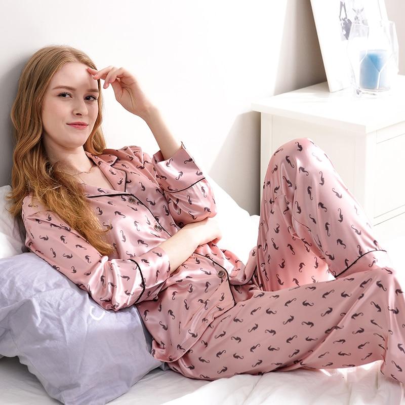 Detail Feedback Questions about Xifenni Pajamas Faux Silk Sleepwear Women  Satin SILK Hippocampus Printed Pyjama Sets Female Casual Simple Home  Clothing 1731 ... 3c13325b2