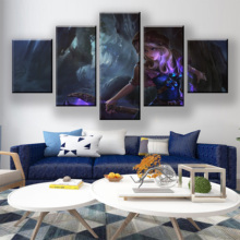 HD Print 5 Piece Canvas Art Game League Of Legends Poster Paintings On Wall For Home Decorations Decor Framework