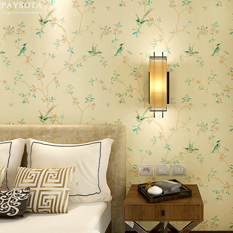 PAYSOTA New modern classical Chinese style wallpaper Bedroom Living Room Sofa TV Setting Non-woven Wall Paper
