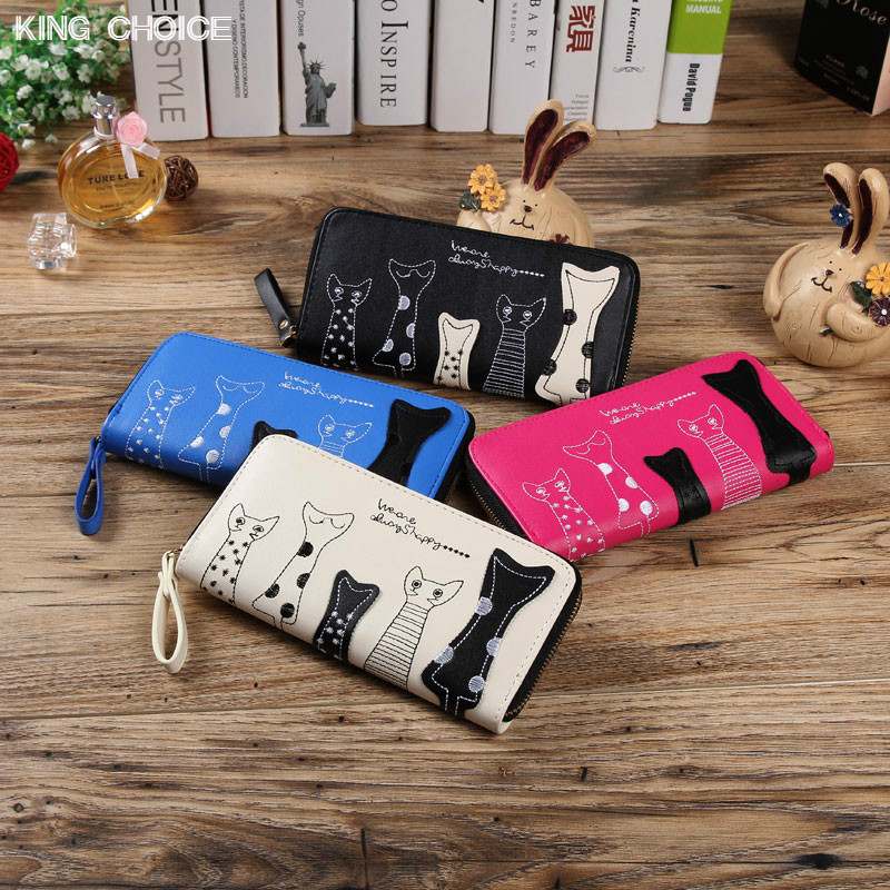 2017 Cat Cartoon Long Women Wallet Leather Creative Female Cion Purse ID Card Holder Casual Loop Zip Ladies Day Clutch Phone Bag yuanyu new hot free shipping card bag real thailand crocodile leather long wallet female fashion women day clutche purse