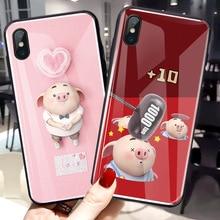 For Xiaomi MI 8 SE Lite Mix 3 2S 6 6X Cute Piggy Couple Back Tempered Glass Anti-knock Cover