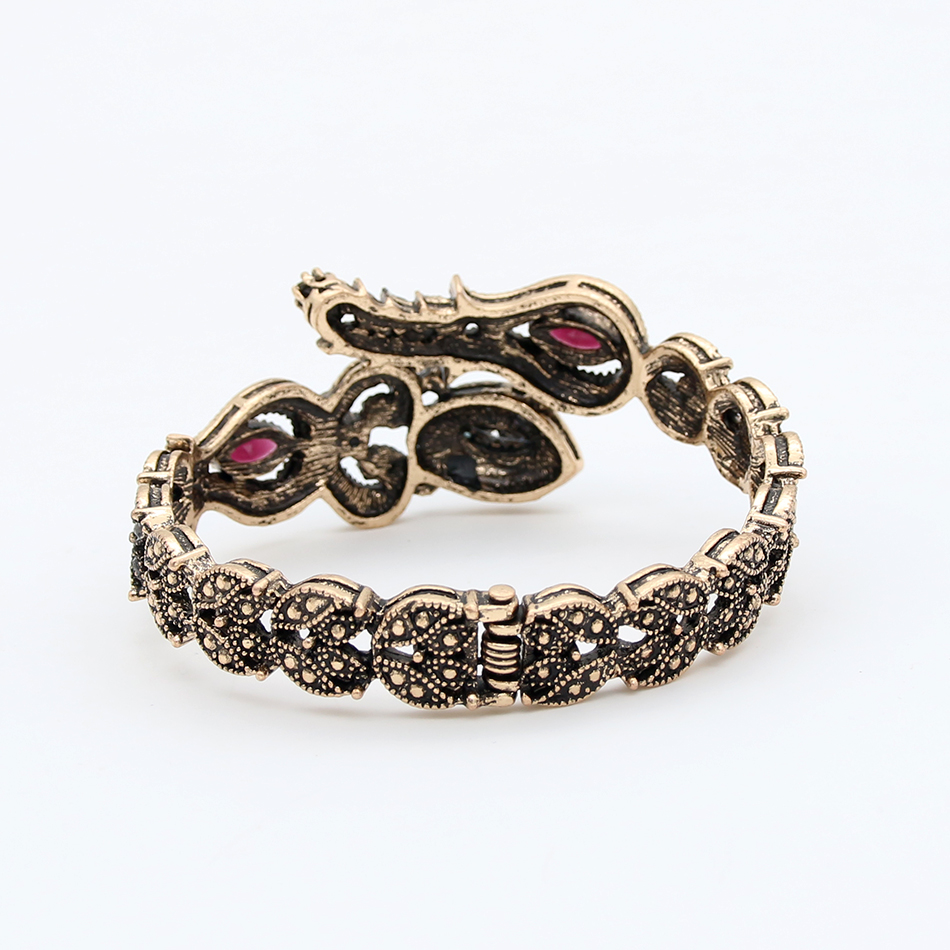 Turki Vintage Tulip Bunga Adjustable Bangle Manset Warna Emas Antik - Perhiasan fashion - Foto 6