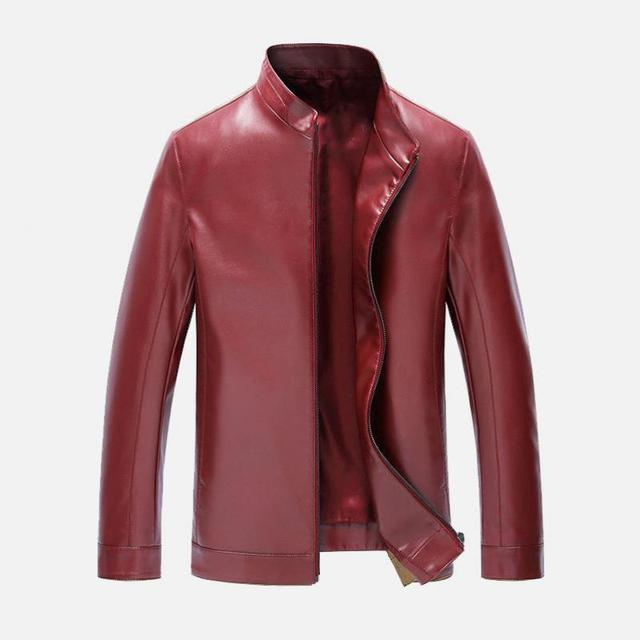 2016 New Arrivals Winter Autumn Brand fashion Leather Jacket Men Motorcycle Leather Jackets Overcoat Jaqueta top Quality RED