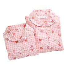 Sweet strawberry 100% gauze Cotton family matching clothes Mother kids pajamas sets Fresh Long sleeve Child boys girls sleepwear
