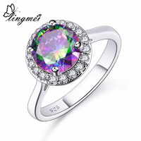 lingmei New Come Round Cut Multicolor & Green White CZ Silver Color Ring Size Simple Fashion Luxury Women Jewelry Gift Wholesale