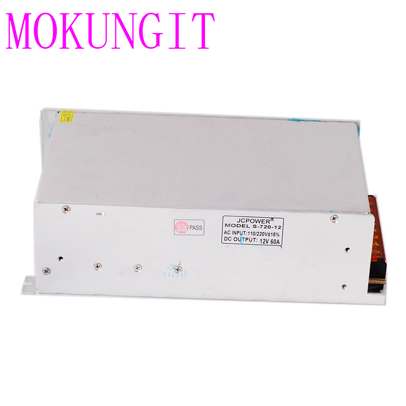 Livraison rapide 5 pièces haute qualité 720 W 12 V 60A alimentation à découpage pour affichage de l'ampoule de ampoules LED, entrée de AC100-240V à DC 12 V