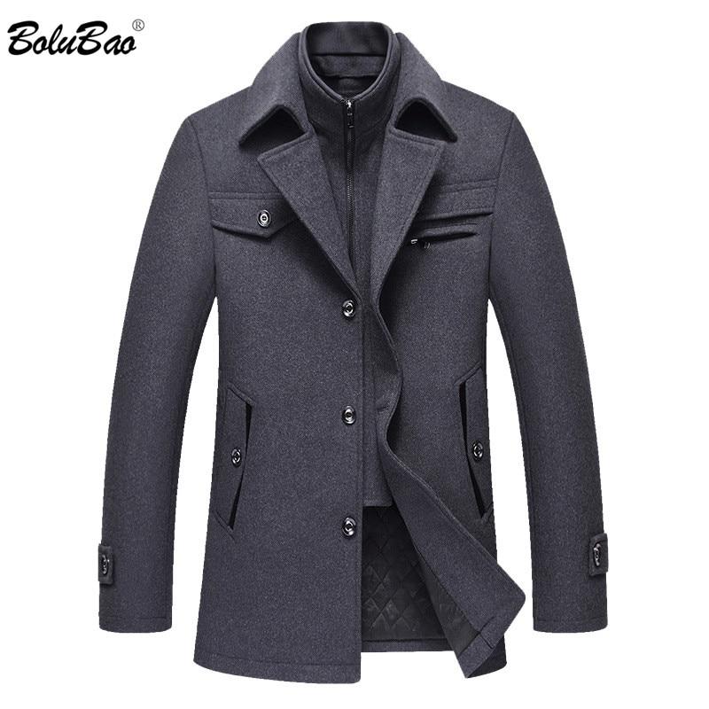 BOLUBAO Men Winter Wool Coat Men's Fashion Brand Comfortable Warm Thick Wool Blends Woolen Pea Coat Male Trench Coat Overcoat