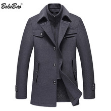 BOLUBAO Men Winter Wool Coat Mens Fashion Brand Comfortable Warm Thick Wool Blends Woolen Pea Coat Male Trench Coat Overcoat