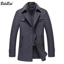 BOLUBAO erkekler kış yün ceket erkek moda markası rahat sıcak kalın yün karışımları yün bezelye ceket erkek trençkot palto