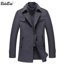BOLUBAO الرجال الشتاء الصوف معطف الرجال ماركة الموضة مريحة الدافئة سميكة الصوف يمزج الصوف البازلاء معطف الذكور خندق معطف معطف
