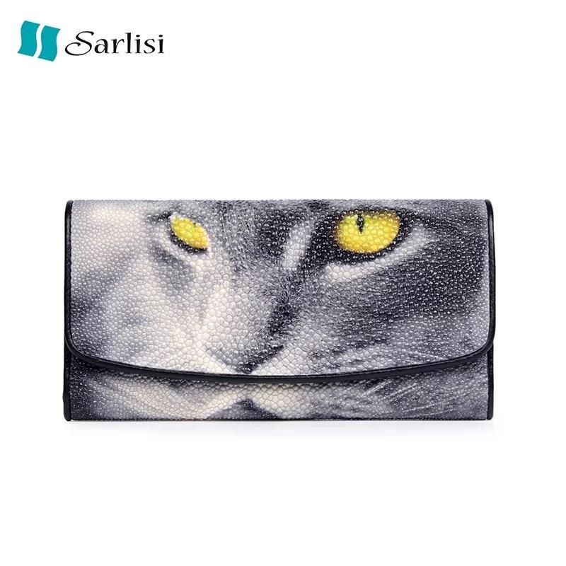 Кот Дизайнер Натуральная кожа ската Exotic кожаные Trifold долго бумажник большой Ёмкость клатч кошелек для любителей Китти