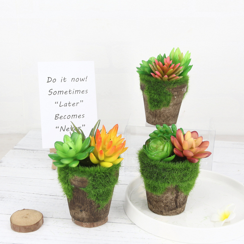 Hoomall Micro-landscape Simulation Succulent Plants Pots Artificial Flowers Pots For Home Decoration DIY Plastic Potted Crafts
