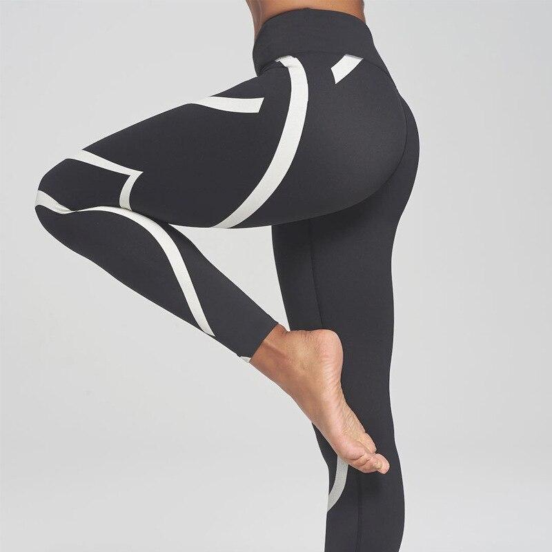 Nova Chegada Black White Leggings Aptidão Mulheres Listrado Leggings Aptidão Skinny Legging Esportivo Treino Calças Moletom Calça