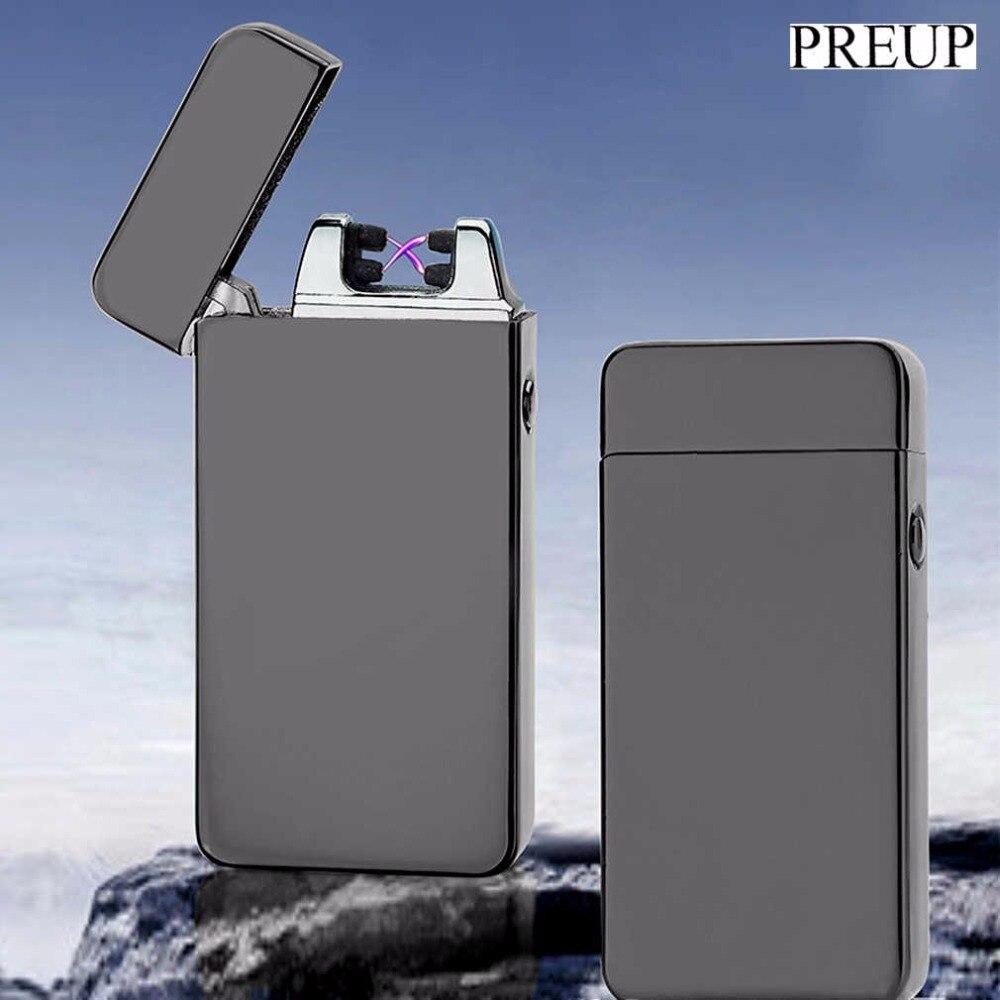 Charge Double Arc Léger USB coupe-vent personnalité Électrique Allume-cigare Nouveauté Métal Sans Flamme Torche Rechargeable