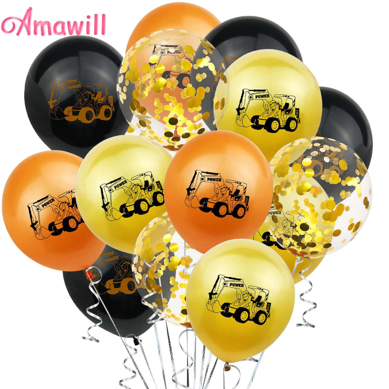 Globos dorados de látex para vehículos de construcción, suministros para fiestas de construcción de Amawill, para niños y niños, decoración para fiestas de cumpleaños con tema 7D
