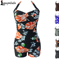 HOT Floral Print Black Vintage Halter Sheath Swimsuit LC41978 Maternity Pregnancy Tankini 2016 New One Piece Swimwear Swimsuit