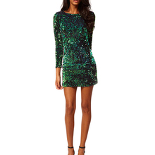 2017 Spring Green Sequined Sun Dress Women Sexy Bodycon O neck 3/4 Sleeve Party Club Sequins Woman Dresses Beach Vestidos W0