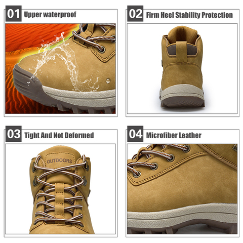 QIANDA Profession Men Mountain Hiking Shoes Winter Climbing Lace-up Leather Waterproof Outdoor Trekking Boots Brand Sneakers Man Islamabad