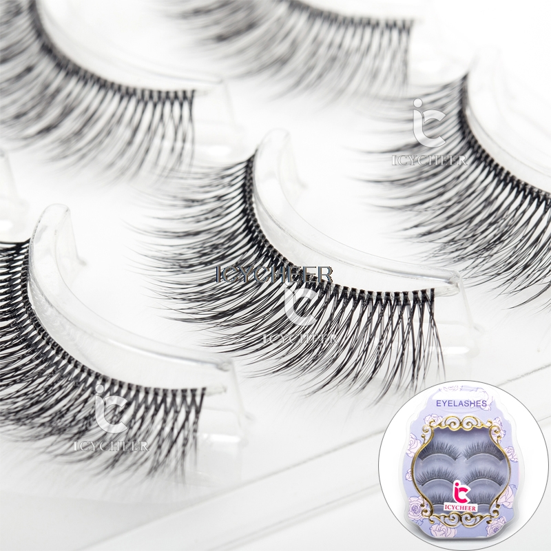 ICYCHEER Makeup 3D False Eyelashes Cross Handmade 3 Pairs Black Fake Eye Lashes Extension