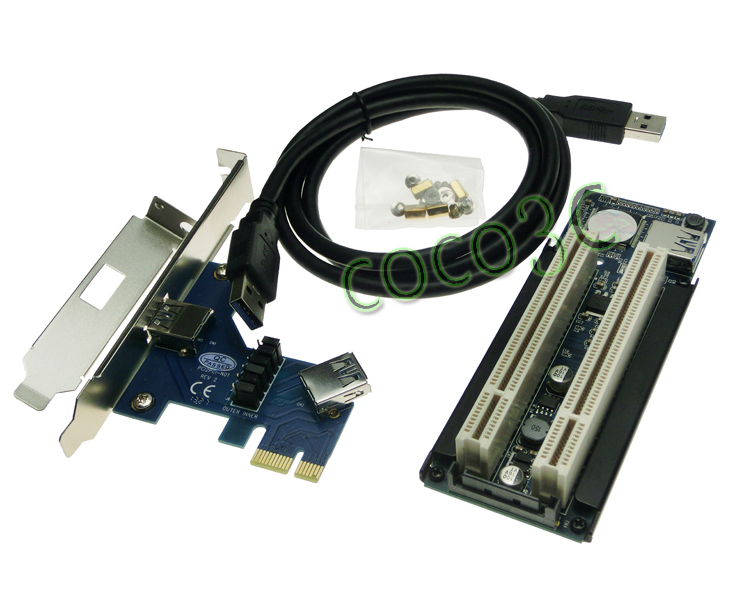 цена на PCIe x1 x4 x8 x16 to Dual PCI slots adapter pci express to 2 pci card With USB 3.0 Extender Cable for serial parallel sound card