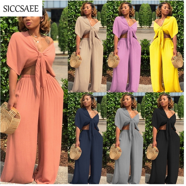 104ade4232 Batwing Sleeve Crop Top Palazzo Pants Two Piece Set Casual Outfits Loose  Solid Summer Style Wide Leg Clothing Suits Sweatsuit