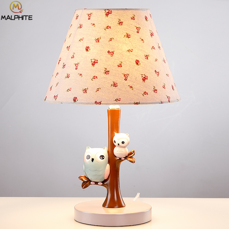 Modern Resin Owl LED Table Lamp Childrens Room Bedside lamp Creative Fabric Table Light Princess Room Decor lighting fixturesModern Resin Owl LED Table Lamp Childrens Room Bedside lamp Creative Fabric Table Light Princess Room Decor lighting fixtures